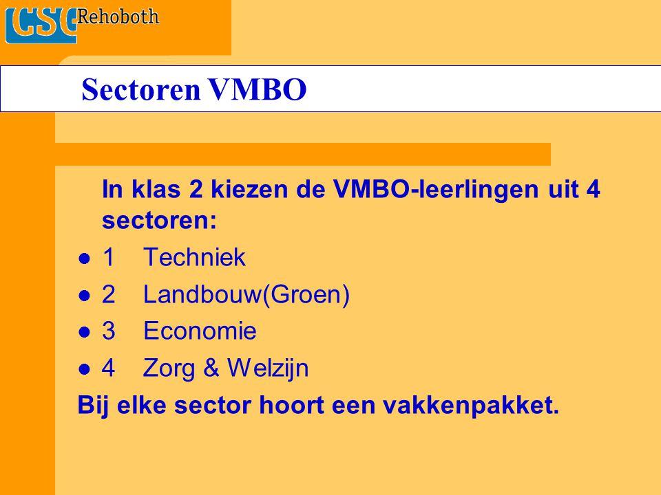 In klas 2 kiezen de VMBO-leerlingen uit 4 sectoren: 1Techniek 2 Landbouw(Groen) 3Economie 4Zorg & Welzijn Bij elke sector hoort een vakkenpakket.