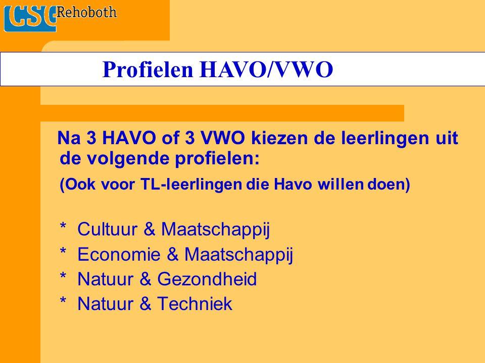 Na 3 HAVO of 3 VWO kiezen de leerlingen uit de volgende profielen: (Ook voor TL-leerlingen die Havo willen doen) * Cultuur & Maatschappij * Economie & Maatschappij * Natuur & Gezondheid * Natuur & Techniek Profielen HAVO/VWO