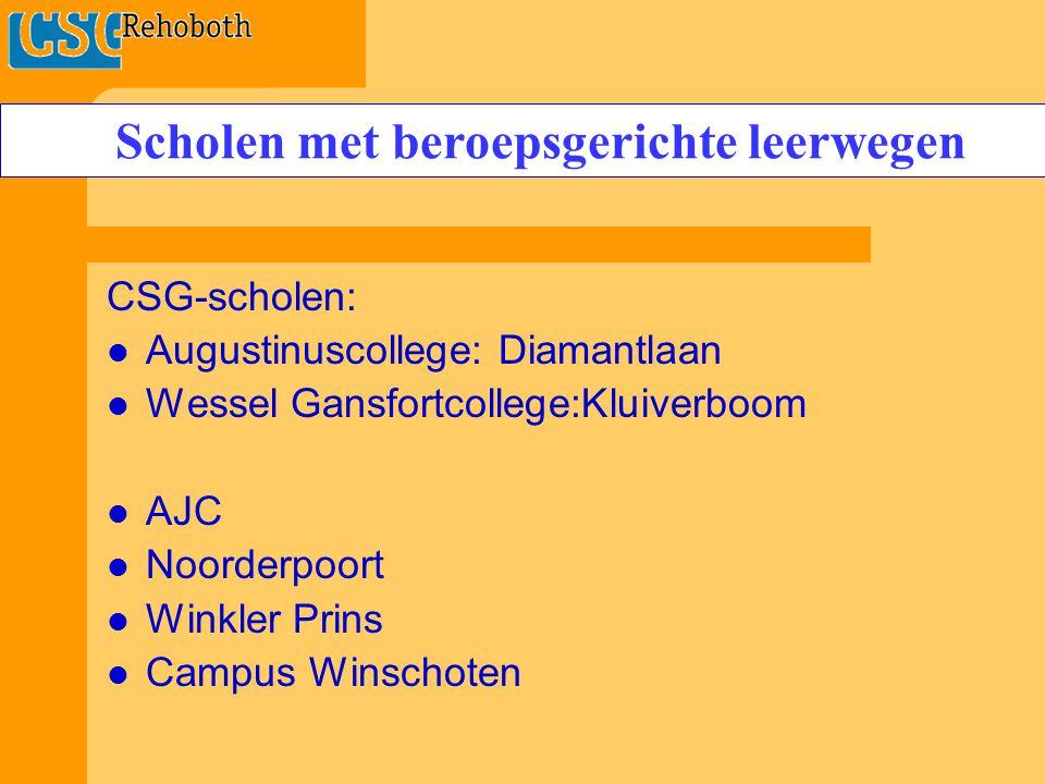 CSG-scholen: Augustinuscollege: Diamantlaan Wessel Gansfortcollege:Kluiverboom AJC Noorderpoort Winkler Prins Campus Winschoten Scholen met beroepsgerichte leerwegen