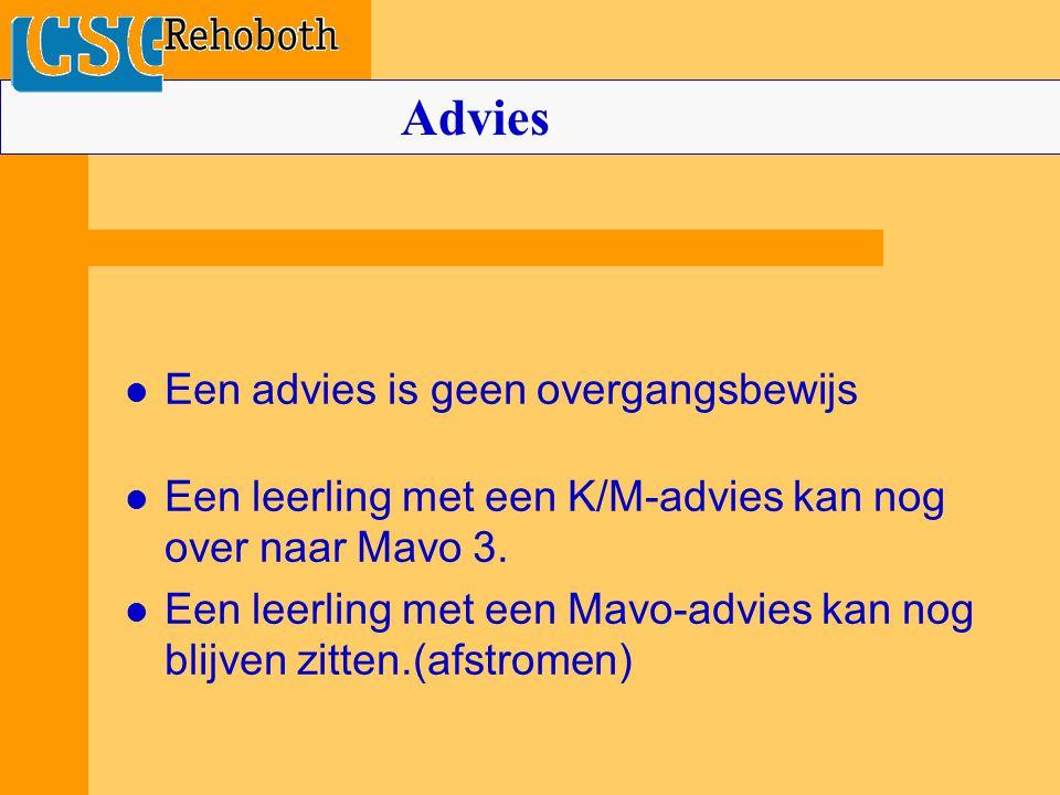 Een advies is geen overgangsbewijs Een leerling met een K/M-advies kan nog over naar Mavo 3. Een leerling met een Mavo-advies kan nog blijven zitten.(
