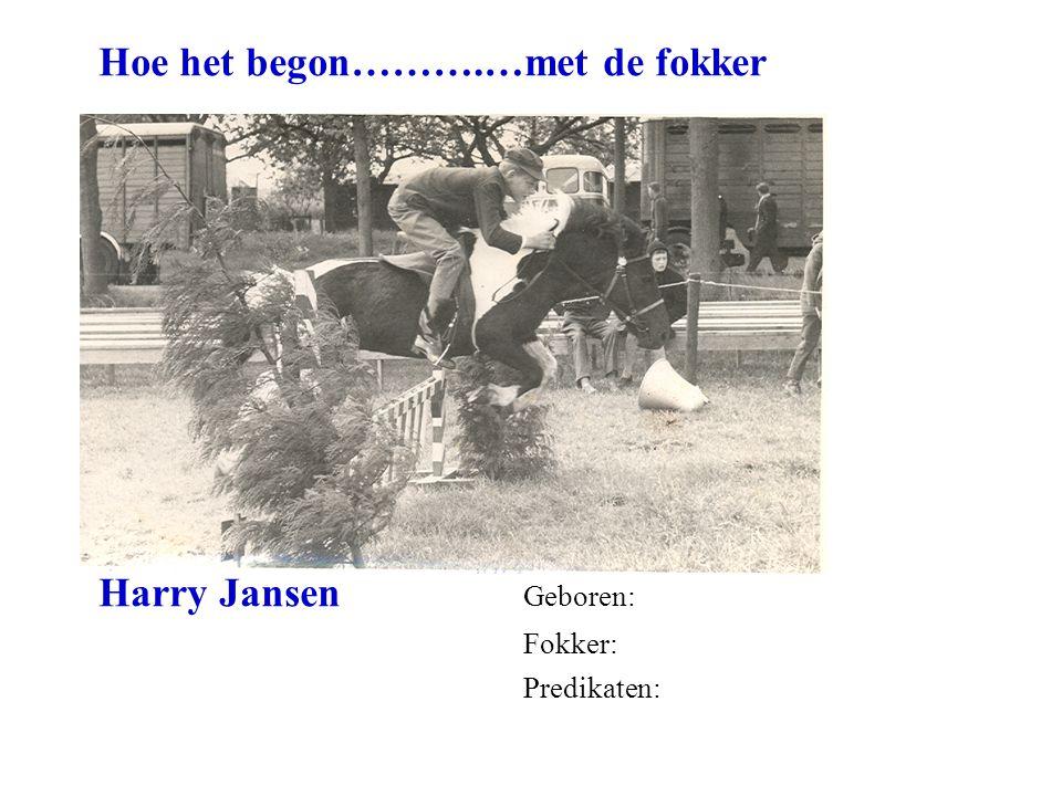 Hoe het begon……….…met de fokker Harry Jansen Geboren: Fokker: Predikaten: