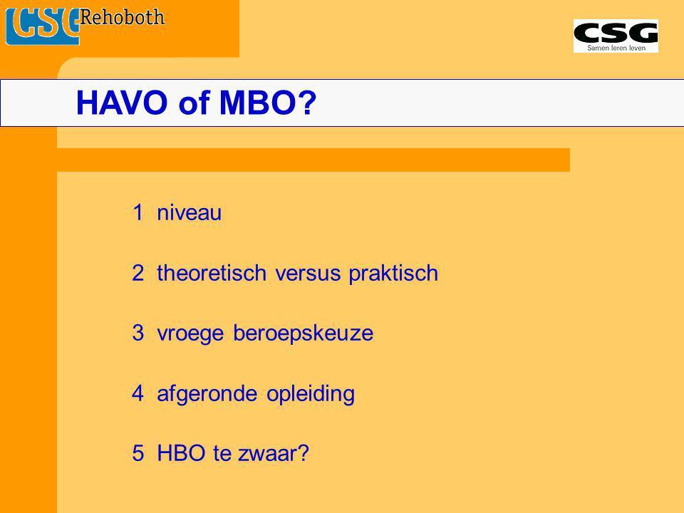 HAVO of MBO? 1 niveau 2 theoretisch versus praktisch 3 vroege beroepskeuze 4 afgeronde opleiding 5 HBO te zwaar?