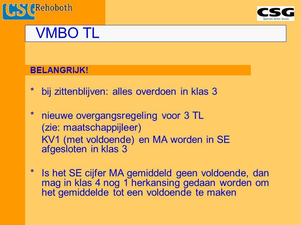 BELANGRIJK! *bij zittenblijven: alles overdoen in klas 3 *nieuwe overgangsregeling voor 3 TL (zie: maatschappijleer) KV1 (met voldoende) en MA worden