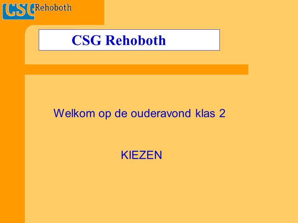 CSG Rehoboth Welkom op de ouderavond klas 2 KIEZEN