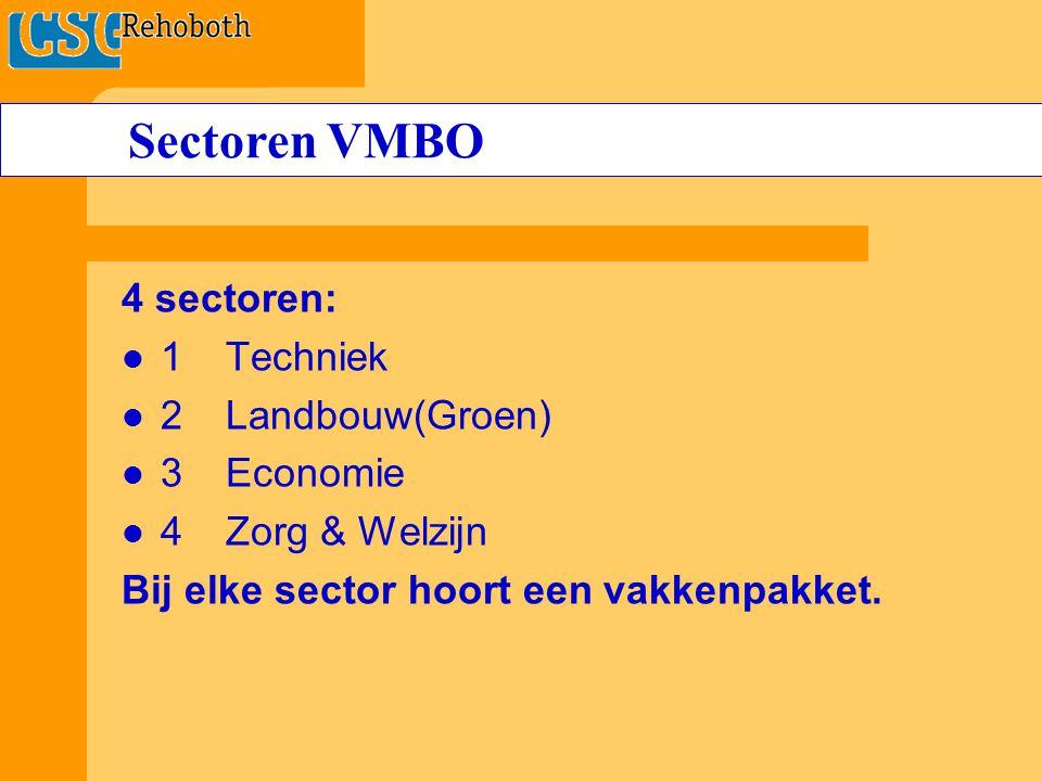 4 sectoren: 1Techniek 2 Landbouw(Groen) 3Economie 4Zorg & Welzijn Bij elke sector hoort een vakkenpakket.