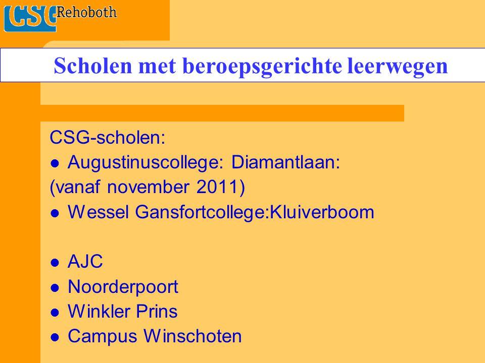 CSG-scholen: Augustinuscollege: Diamantlaan: (vanaf november 2011) Wessel Gansfortcollege:Kluiverboom AJC Noorderpoort Winkler Prins Campus Winschoten Scholen met beroepsgerichte leerwegen