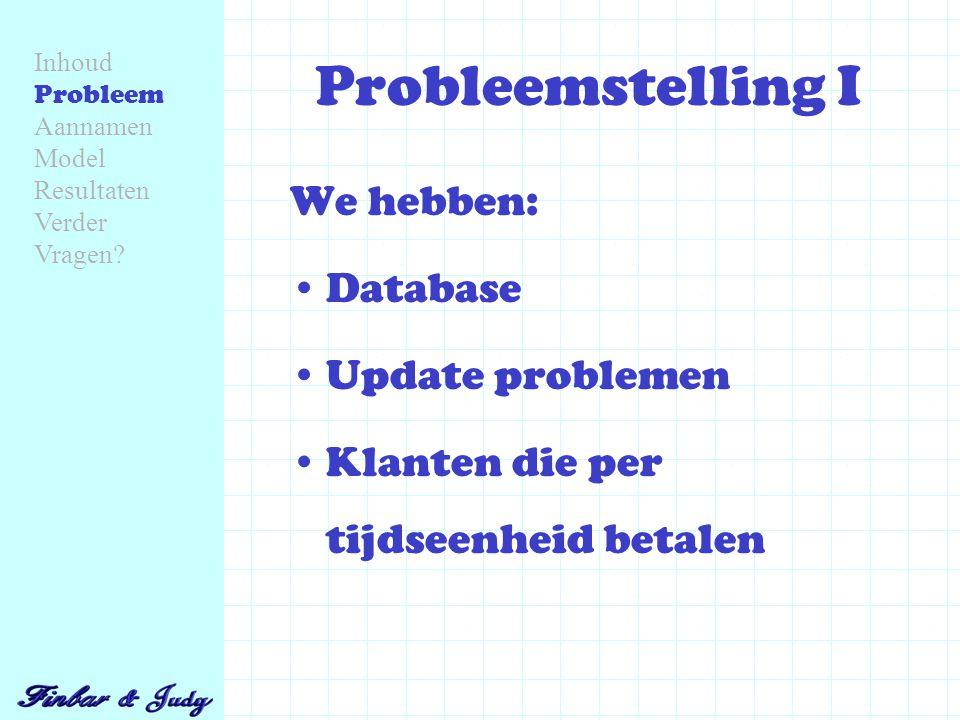 Probleemstelling I We hebben: Database Update problemen Klanten die per tijdseenheid betalen Inhoud Probleem Aannamen Model Resultaten Verder Vragen