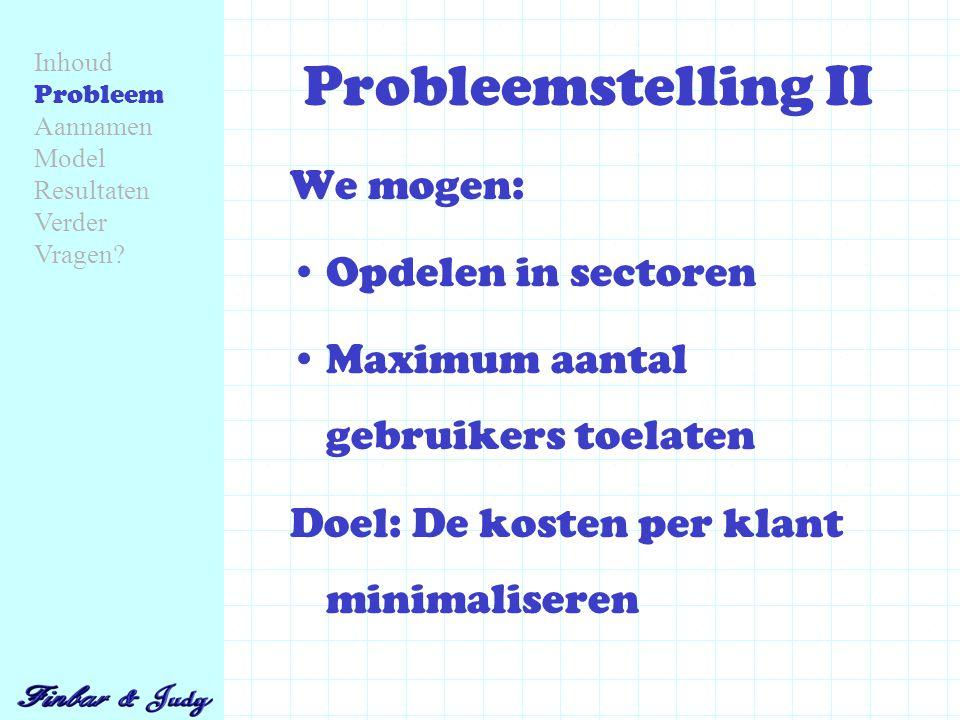 Probleemstelling II We mogen: Opdelen in sectoren Maximum aantal gebruikers toelaten Doel: De kosten per klant minimaliseren Inhoud Probleem Aannamen Model Resultaten Verder Vragen
