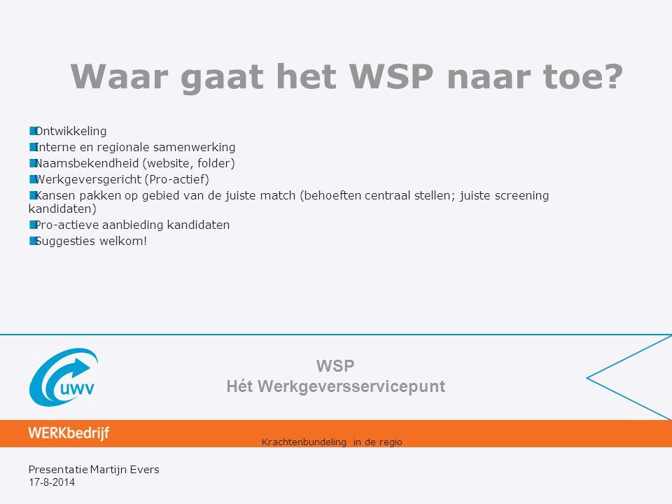 17-8-2014 Presentatie Martijn Evers Waar gaat het WSP naar toe? Ontwikkeling Interne en regionale samenwerking Naamsbekendheid (website, folder) Werkg