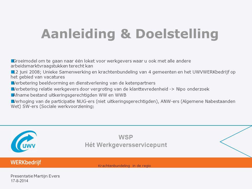 17-8-2014 Presentatie Martijn Evers Aanleiding & Doelstelling Groeimodel om te gaan naar één loket voor werkgevers waar u ook met alle andere arbeidsm