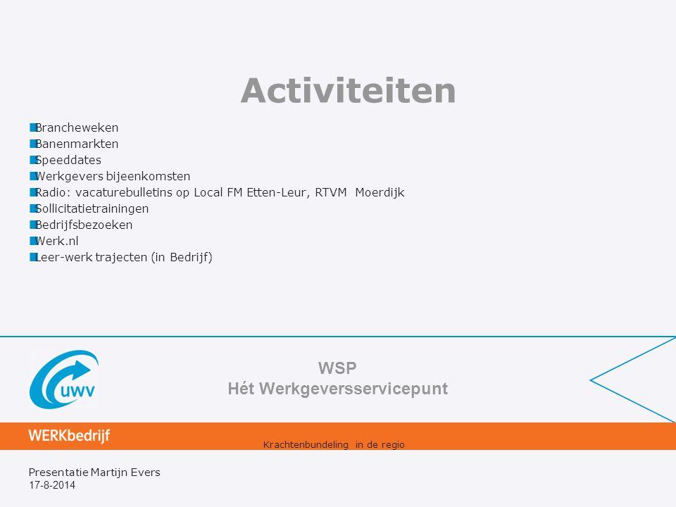 17-8-2014 Presentatie Martijn Evers Activiteiten Brancheweken Banenmarkten Speeddates Werkgevers bijeenkomsten Radio: vacaturebulletins op Local FM Et