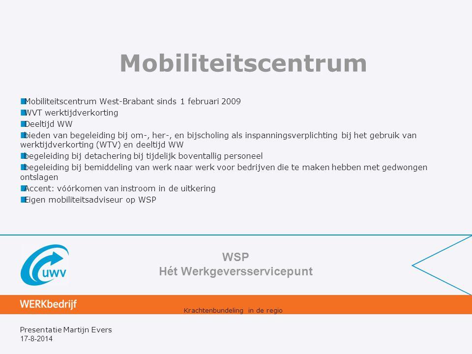 17-8-2014 Presentatie Martijn Evers Mobiliteitscentrum Mobiliteitscentrum West-Brabant sinds 1 februari 2009 WVT werktijdverkorting Deeltijd WW bieden