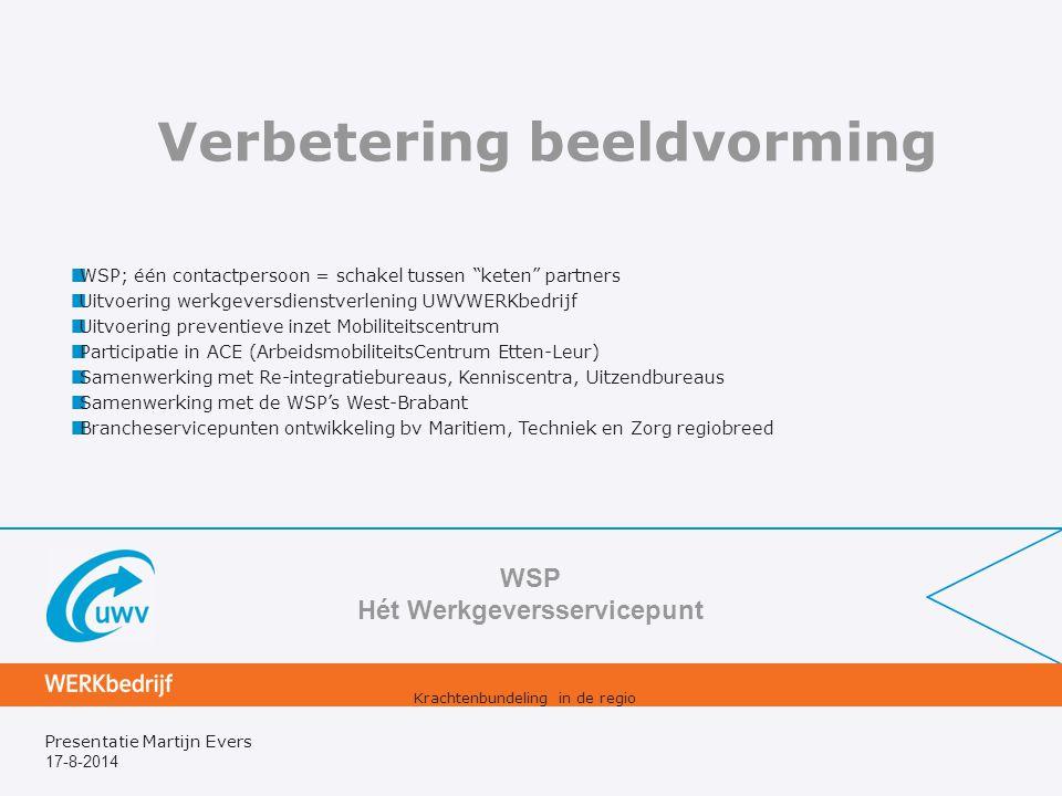 17-8-2014 Presentatie Martijn Evers Verbetering beeldvorming WSP Hét Werkgeversservicepunt Krachtenbundeling in de regio WSP; één contactpersoon = sch