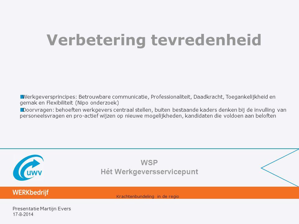 17-8-2014 Presentatie Martijn Evers Verbetering tevredenheid WSP Hét Werkgeversservicepunt Krachtenbundeling in de regio Werkgeversprincipes: Betrouwb