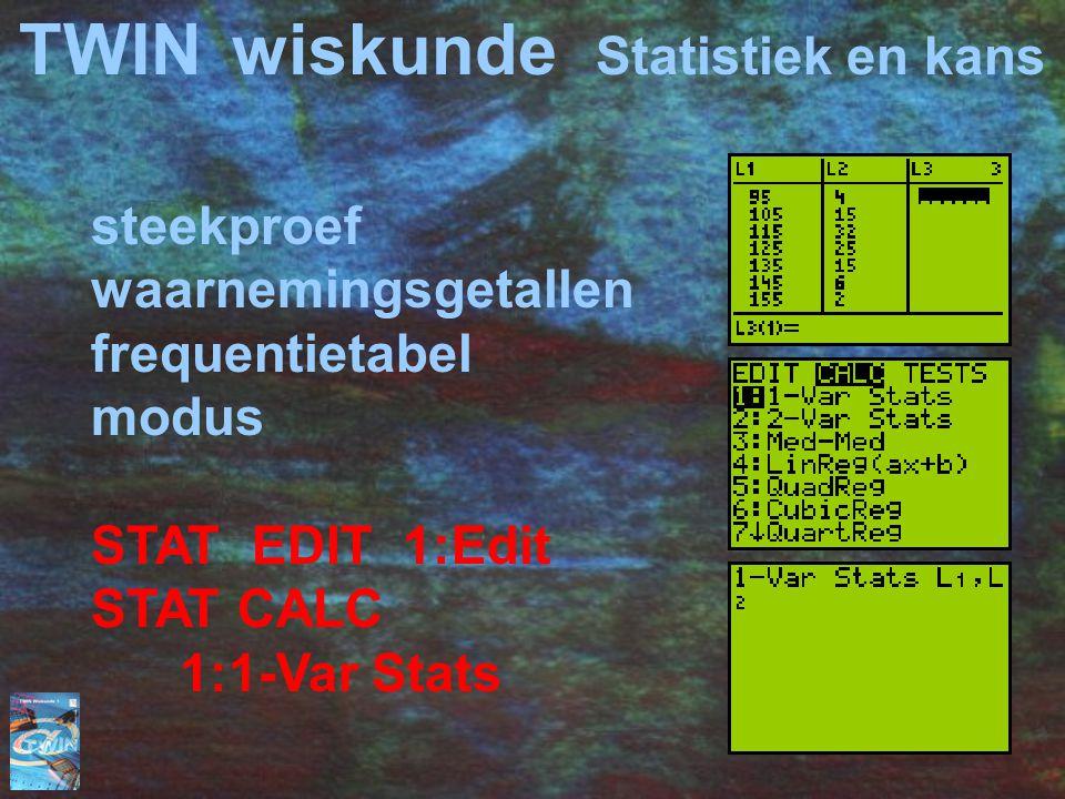 TWINwiskunde Statistiek en kans steekproef waarnemingsgetallen frequentietabel modus STAT EDIT 1:Edit STAT CALC 1:1-Var Stats