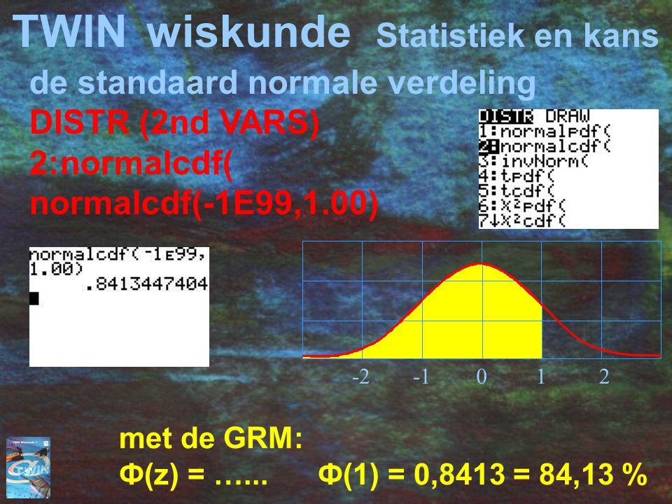 TWINwiskunde Statistiek en kans de standaard normale verdeling DISTR (2nd VARS) 2:normalcdf( normalcdf(-1E99,1.00) met de GRM: Ф(z) = …... Ф(1) = 0,84