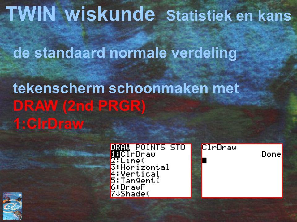 TWINwiskunde Statistiek en kans de standaard normale verdeling tekenscherm schoonmaken met DRAW (2nd PRGR) 1:ClrDraw