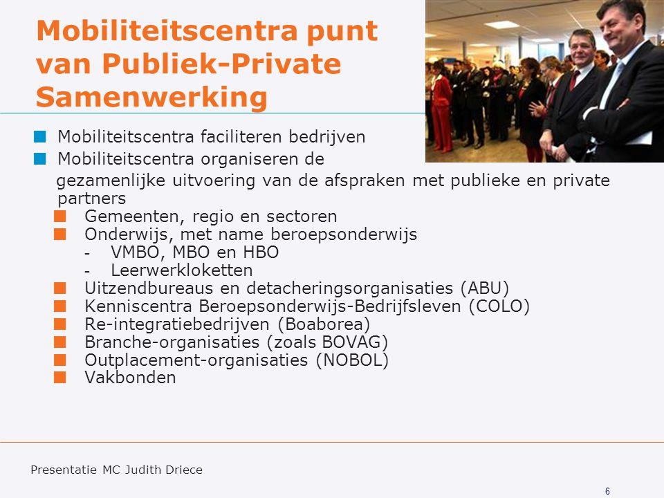 6 Mobiliteitscentra punt van Publiek-Private Samenwerking Mobiliteitscentra faciliteren bedrijven Mobiliteitscentra organiseren de gezamenlijke uitvoe