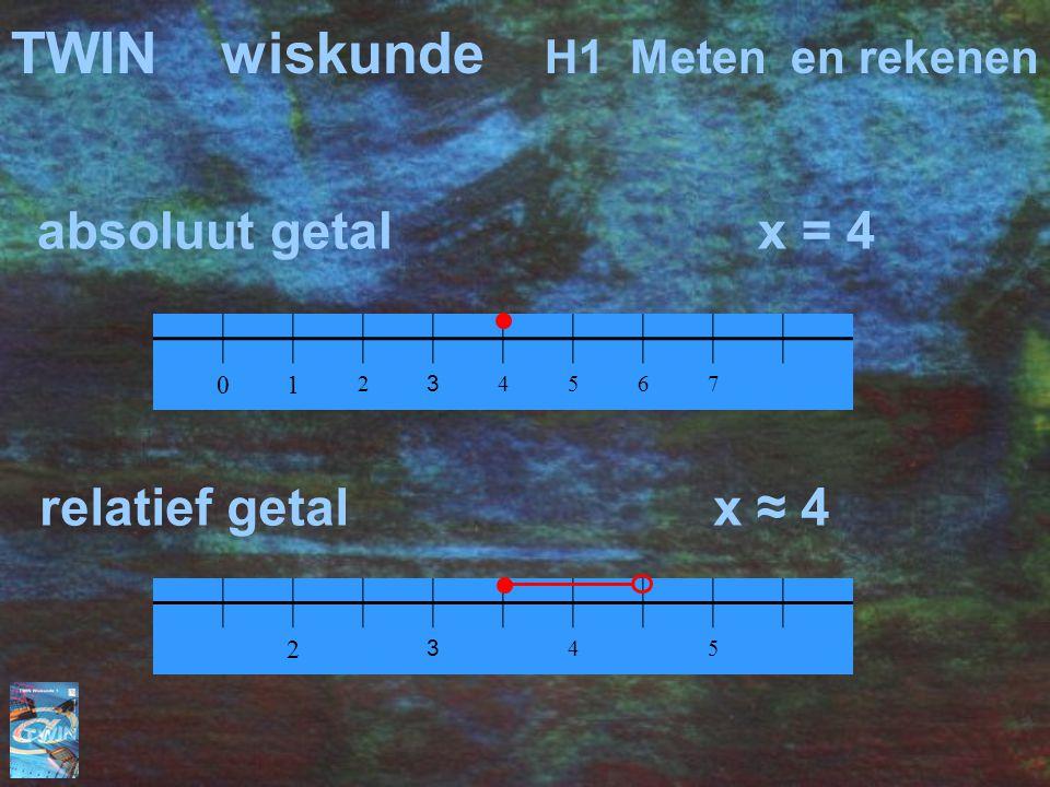 absoluut getal x = 4 01 2 3 4567 TWINwiskunde H1 Meten en rekenen 2 3 45 relatief getal x ≈ 4