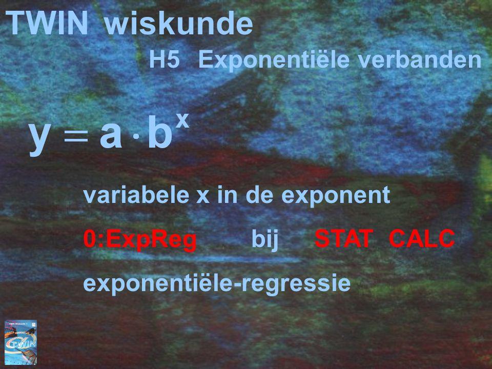 TWINwiskunde H5Exponentiële verbanden variabele x in de exponent 0:ExpReg bij STAT CALC exponentiële-regressie
