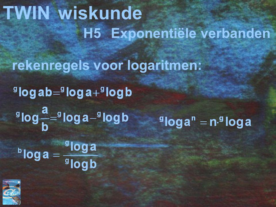 TWINwiskunde H5Exponentiële verbanden rekenregels voor logaritmen: