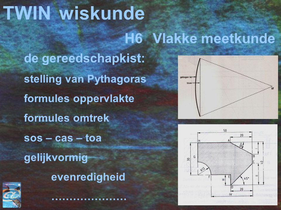 TWINwiskunde de gereedschapkist: stelling van Pythagoras formules oppervlakte formules omtrek sos – cas – toa gelijkvormig evenredigheid ………………… H6Vlakke meetkunde