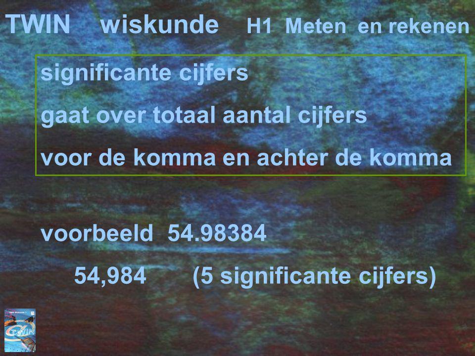 significante cijfers gaat over totaal aantal cijfers voor de komma en achter de komma TWINwiskunde H1 Meten en rekenen voorbeeld 54.98384 54,984 (5 significante cijfers)