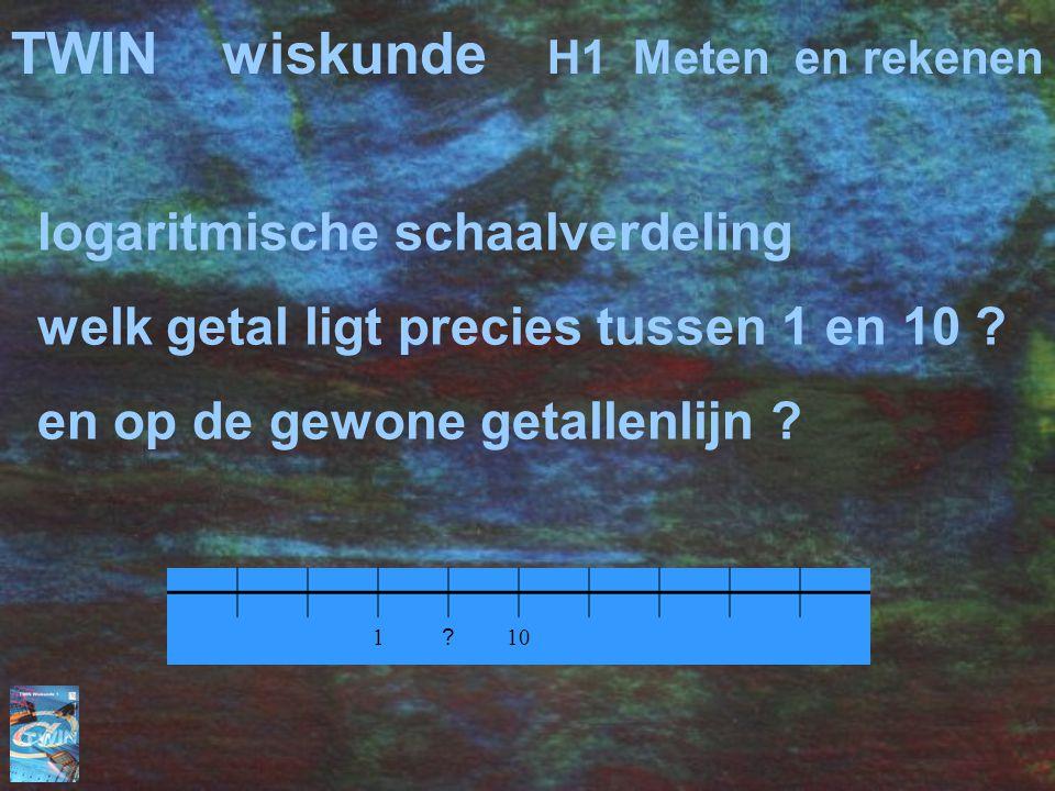 logaritmische schaalverdeling welk getal ligt precies tussen 1 en 10 ? en op de gewone getallenlijn ? 1 ? 10 TWINwiskunde H1 Meten en rekenen