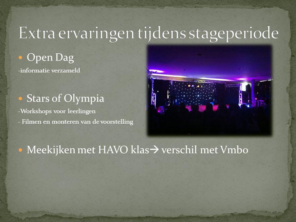 Open Dag -informatie verzameld Stars of Olympia -Workshops voor leerlingen - Filmen en monteren van de voorstelling Meekijken met HAVO klas  verschil