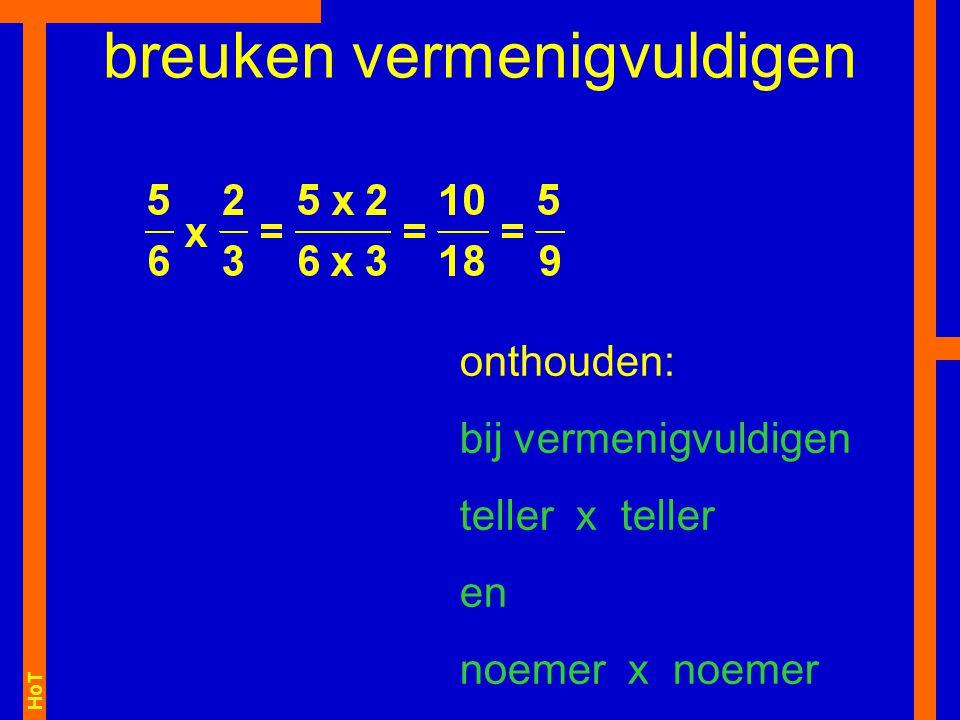 HoT breuken vermenigvuldigen onthouden: bij vermenigvuldigen teller x teller en noemer x noemer