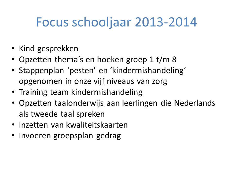 Focus schooljaar 2013-2014 Kind gesprekken Opzetten thema's en hoeken groep 1 t/m 8 Stappenplan 'pesten' en 'kindermishandeling' opgenomen in onze vij