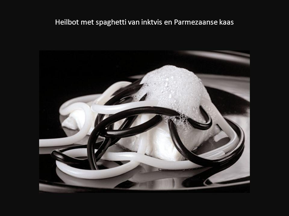 Heilbot met spaghetti van inktvis en Parmezaanse kaas