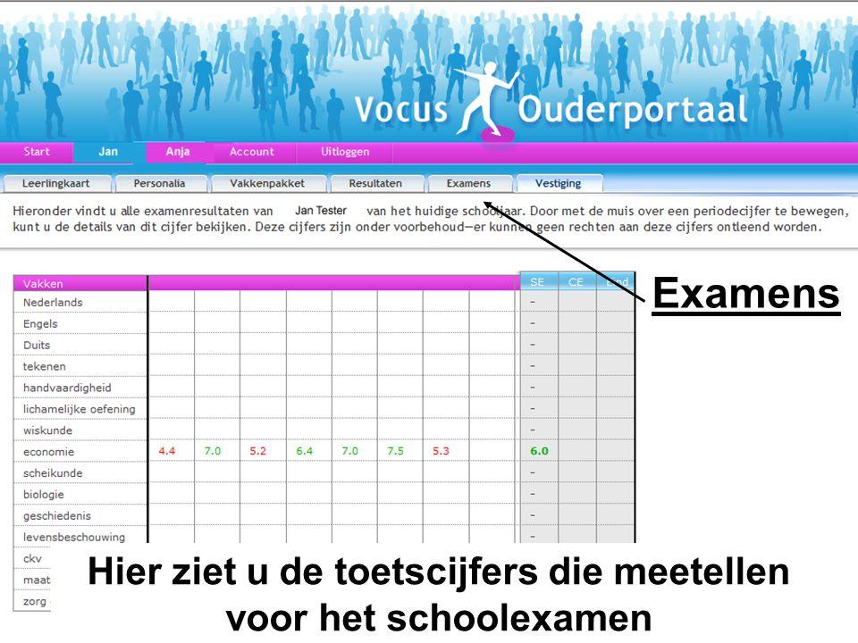 Hier ziet u de toetscijfers die meetellen voor het schoolexamen Examens