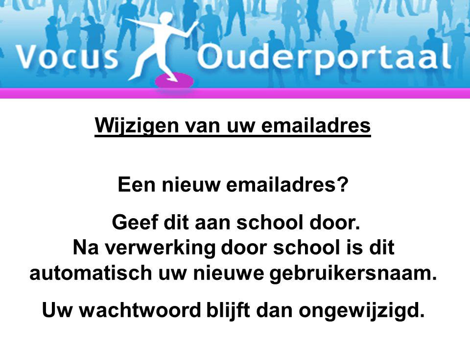 Een nieuw emailadres.Geef dit aan school door.
