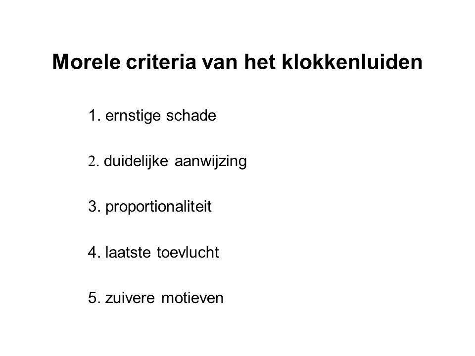 Morele criteria van het klokkenluiden 1. ernstige schade 2. duidelijke aanwijzing 3. proportionaliteit 4. laatste toevlucht 5. zuivere motieven