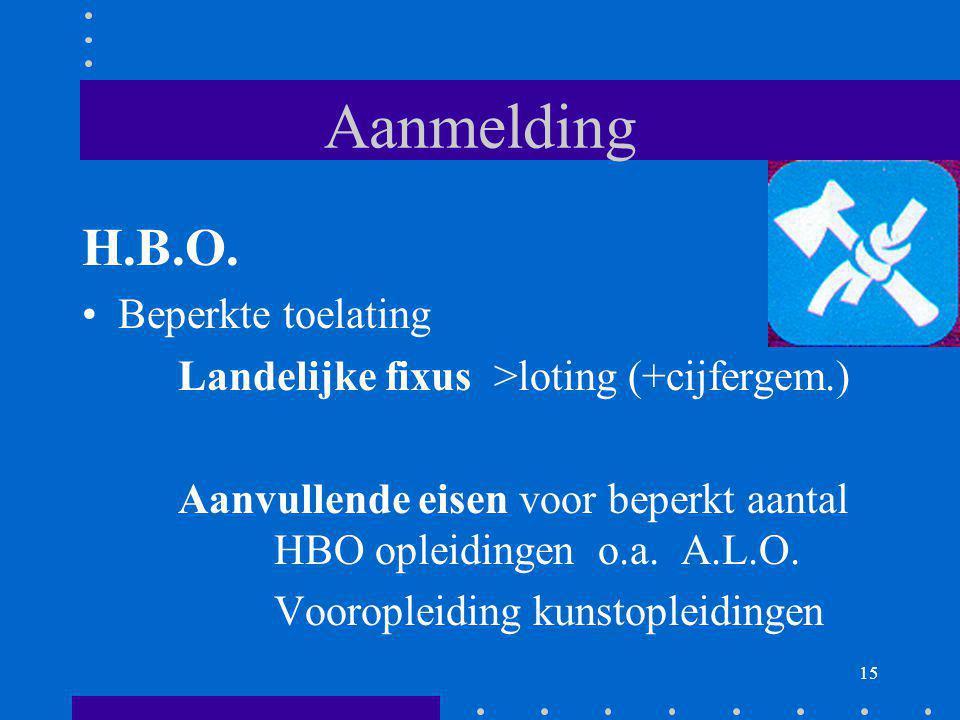 15 Aanmelding H.B.O. Beperkte toelating Landelijke fixus >loting (+cijfergem.) Aanvullende eisen voor beperkt aantal HBO opleidingen o.a. A.L.O. Vooro