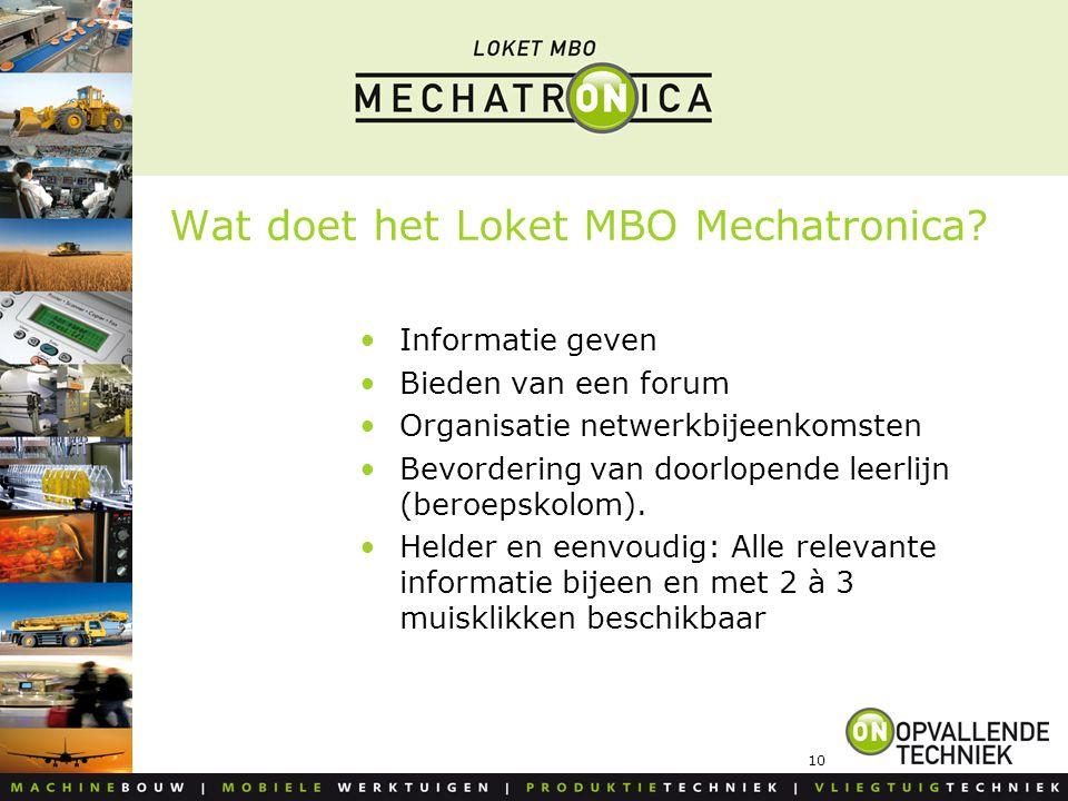 10 Wat doet het Loket MBO Mechatronica? Informatie geven Bieden van een forum Organisatie netwerkbijeenkomsten Bevordering van doorlopende leerlijn (b
