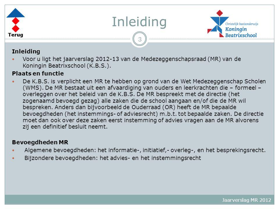 Inleiding Voor u ligt het jaarverslag 2012-13 van de Medezeggenschapsraad (MR) van de Koningin Beatrixschool (K.B.S.). Plaats en functie De K.B.S. is