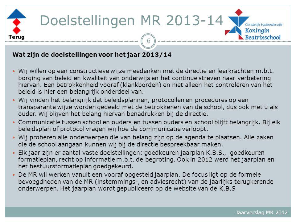 Doelstellingen MR 2013-14 Wat zijn de doelstellingen voor het jaar 2013/14 Wij willen op een constructieve wijze meedenken met de directie en leerkrachten m.b.t.
