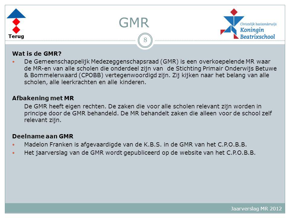 GMR Wat is de GMR? De Gemeenschappelijk Medezeggenschapsraad (GMR) is een overkoepelende MR waar de MR-en van alle scholen die onderdeel zijn van de S