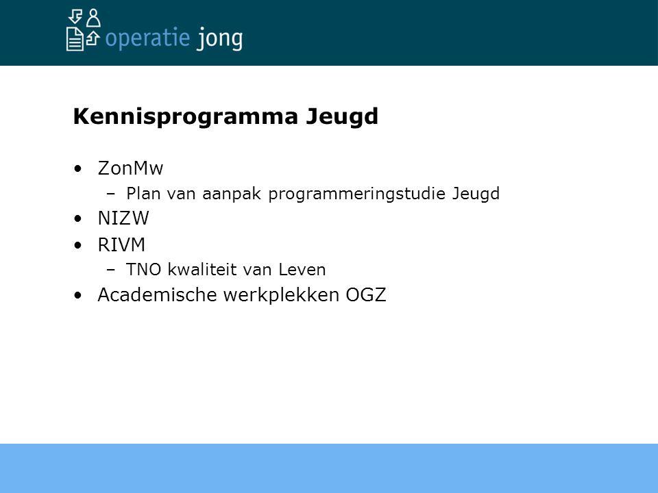 Kennisprogramma Jeugd ZonMw –Plan van aanpak programmeringstudie Jeugd NIZW RIVM –TNO kwaliteit van Leven Academische werkplekken OGZ
