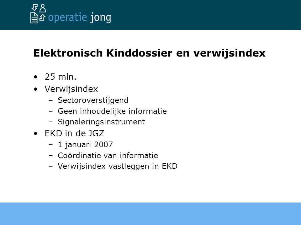 Elektronisch Kinddossier en verwijsindex 25 mln. Verwijsindex –Sectoroverstijgend –Geen inhoudelijke informatie –Signaleringsinstrument EKD in de JGZ