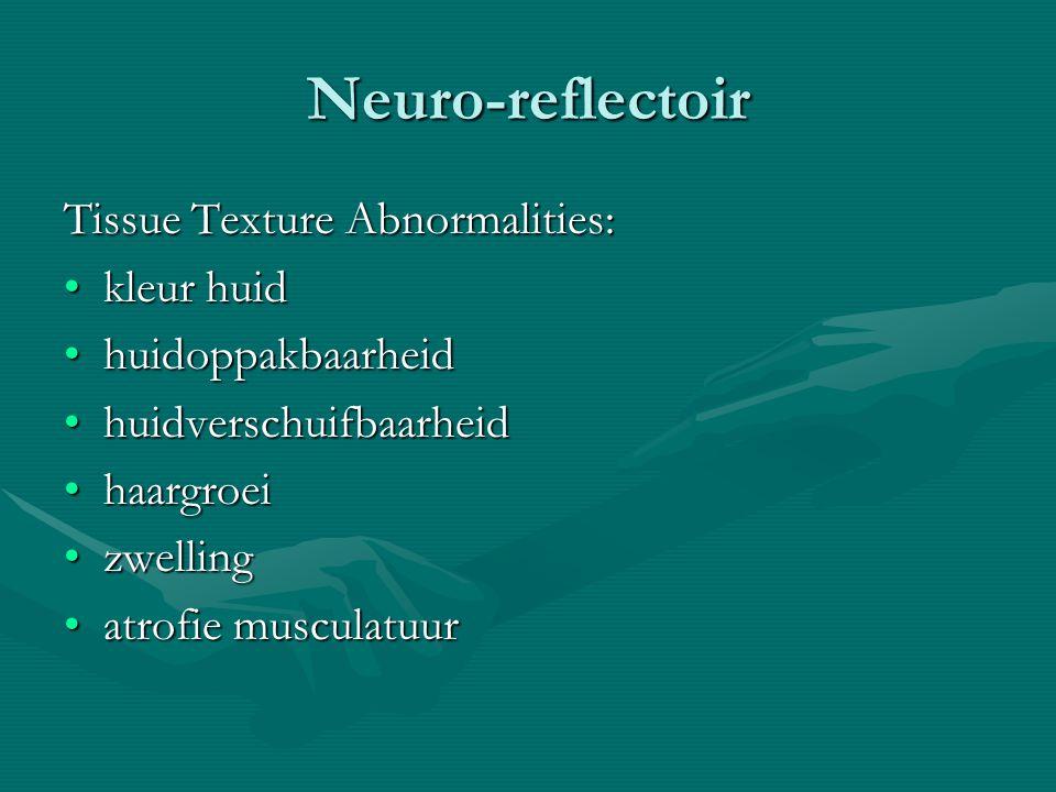 Neuro-reflectoir Tissue Texture Abnormalities: kleur huidkleur huid huidoppakbaarheidhuidoppakbaarheid huidverschuifbaarheidhuidverschuifbaarheid haargroeihaargroei zwellingzwelling atrofie musculatuuratrofie musculatuur