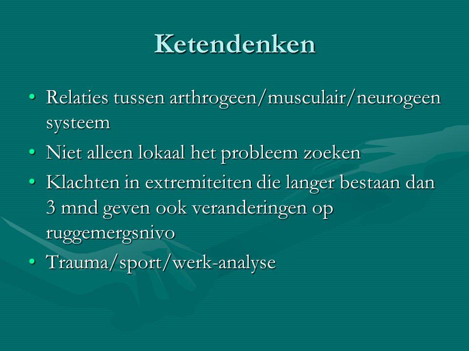 Ketendenken Relaties tussen arthrogeen/musculair/neurogeen systeemRelaties tussen arthrogeen/musculair/neurogeen systeem Niet alleen lokaal het probleem zoekenNiet alleen lokaal het probleem zoeken Klachten in extremiteiten die langer bestaan dan 3 mnd geven ook veranderingen op ruggemergsnivoKlachten in extremiteiten die langer bestaan dan 3 mnd geven ook veranderingen op ruggemergsnivo Trauma/sport/werk-analyseTrauma/sport/werk-analyse