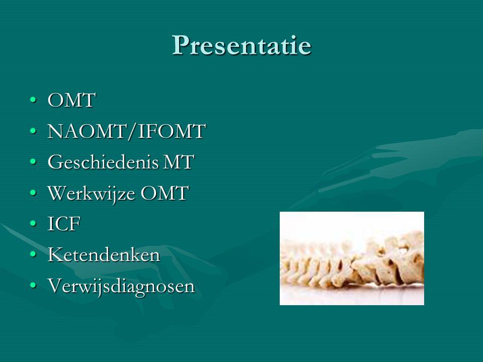 Presentatie OMTOMT NAOMT/IFOMTNAOMT/IFOMT Geschiedenis MTGeschiedenis MT Werkwijze OMTWerkwijze OMT ICFICF KetendenkenKetendenken VerwijsdiagnosenVerwijsdiagnosen