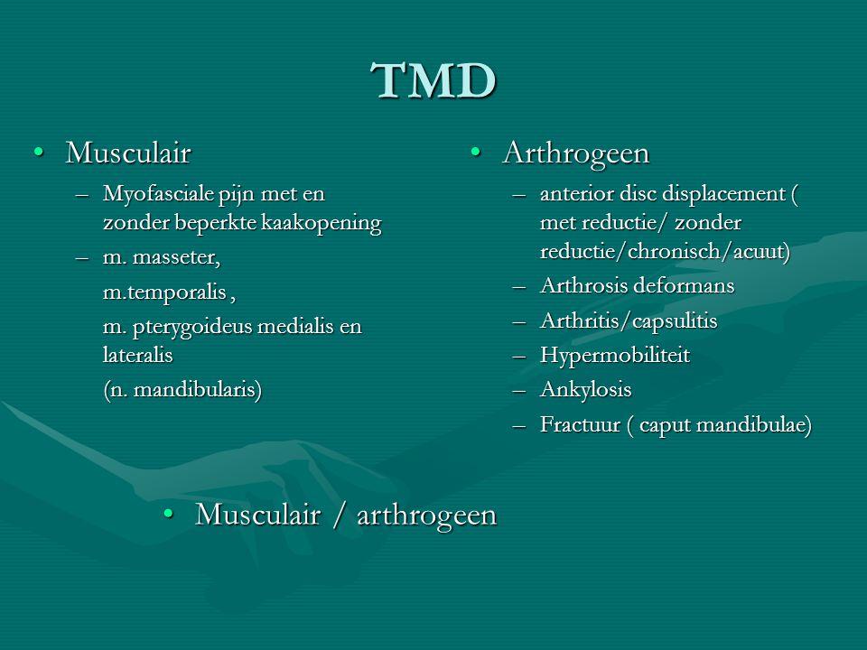 TMD MusculairMusculair –Myofasciale pijn met en zonder beperkte kaakopening –m.