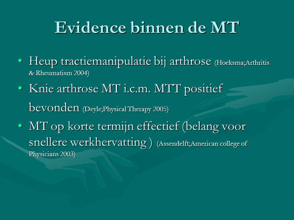 Evidence binnen de MT Heup tractiemanipulatie bij arthrose (Hoeksma;Arthritis & Rheumatism 2004)Heup tractiemanipulatie bij arthrose (Hoeksma;Arthritis & Rheumatism 2004) Knie arthrose MT i.c.m.