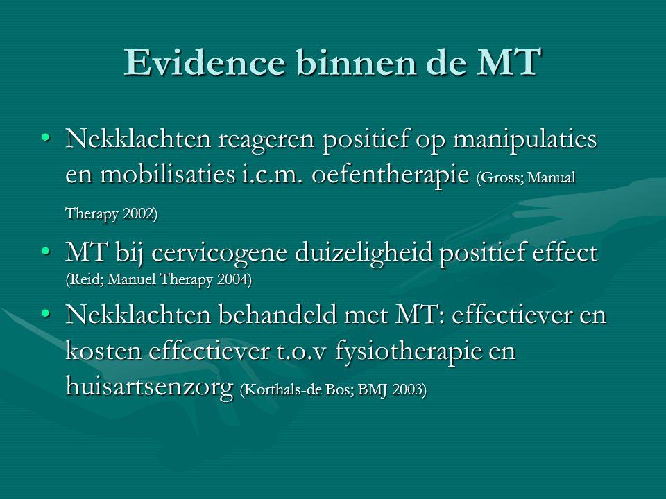Evidence binnen de MT Nekklachten reageren positief op manipulaties en mobilisaties i.c.m.