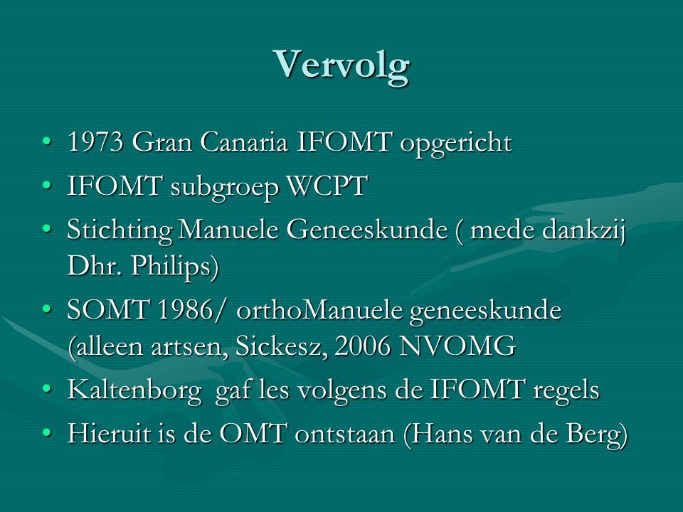 Vervolg 1973 Gran Canaria IFOMT opgericht1973 Gran Canaria IFOMT opgericht IFOMT subgroep WCPTIFOMT subgroep WCPT Stichting Manuele Geneeskunde ( mede dankzij Dhr.