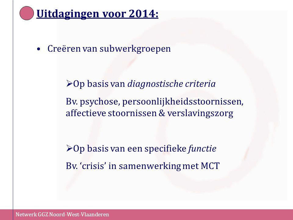Netwerk GGZ Noord-West-Vlaanderen Uitdagingen voor 2014: Creëren van subwerkgroepen  Op basis van diagnostische criteria Bv. psychose, persoonlijkhei